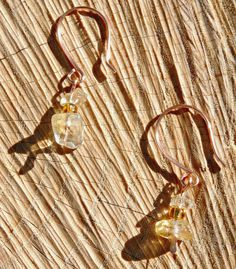 Citrine and hammered copper earrings