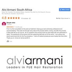 Here's What OUR CLIENTS Say About Us. Get Your HAIR LOSS TREATMENT Done with US. To Book Call Us On +27 10 312 6140 #AlviArmani #AlviArmaniMaximusFUE #FUESouthAfrica #CareForBaldness #HairRestoration #hairgrowth #HairTransplant #FUE #HairClinic #sandtoncity Hair Clinic, Hair Restoration, Hair Transplant, Hair Loss Treatment, Hair Growth, Your Hair, Medical, Sayings, Book