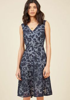 Flair in Layers Floral Dress in Navy