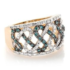 14K Gold .52ct Blue and White Diamond Infinity Ring