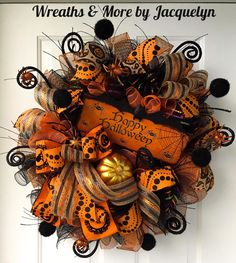 Wreaths and other handcrafted items for all occasions. by WreathsbyJacquelyn Halloween Door Wreaths, Halloween Deco Mesh, Halloween Door Decorations, Halloween Trees, Halloween Porch, Holidays Halloween, Holiday Wreaths, Halloween Crafts, Halloween Pumpkins