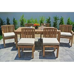 Willow Creek Designs Huntington 7 Piece Dining Set with Cushions Cushion Color: Brannon Redwood