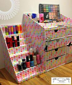 Cosmetics Station / Craft Desk Tidy using the new Xyron Creative Station and DCWV ~ Sharon Callis Crafts Cardboard Organizer, Cardboard Storage, Diy Storage Boxes, Cardboard Box Crafts, Diy Makeup Storage, Desk Organization Diy, Craft Storage, Paper Crafts, Diy Home Crafts