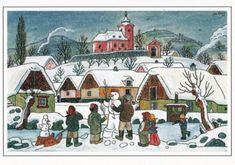 Czech Christmas postcard - illustration by Josef Lada Twelfth Night, Christmas Scenes, Children's Book Illustration, Czech Republic, Illustrators, Folk Art, Jigsaw Puzzles, Cool Pictures, Fairy Tales