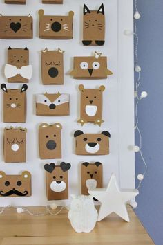 Adventskalender für Weihnachten selber machen und Tiere aus Pappkartons basteln