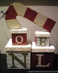 Craft-O-Maniac: Dollar Store Crafted NOEL boxes w/ tutorial.