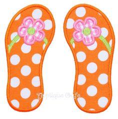 307 Flower Flip Flops Machine Embroidery Applique Design. $4.00, via Etsy.