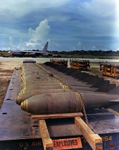 Bombs without fuses ready to be loaded onto the B-52 in the...