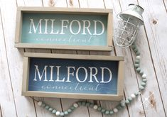 PERSONALIZED TOWN NAME and State Watercolor Sign |  Coastal Collection Custom Town Wood Sign | Blue Watercolor Designed Town Name Sign by ttcreative on Etsy Watercolor On Wood, Watercolor Design, New England Farmhouse, Travel Baby Showers, Town Names, Ways To Show Love, Great Housewarming Gifts, Custom Wood Signs, Name Signs