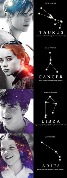 The Pevensies and their constellations  peter pevensie as taurus susan pevensie as cancer edmund pevensie as libra lucy pevensie as aries