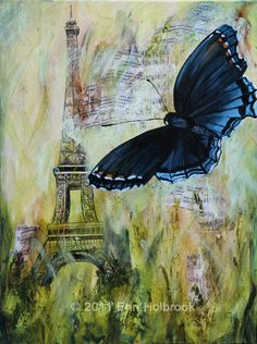 Butterfly and Eiffel Tower Painting