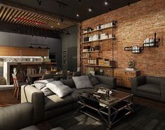 ¡Estilo urbano, joven e innovador! Home Room Design, Loft Design, Interior Design Living Room, Living Room Designs, House Design, Brick Interior, Industrial Home Design, Industrial House, Loft House
