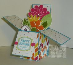 Stampin Up! Flower Patch Card in a Box. by Stamps and Scraps with Yapha for Stamp Review Crew: Flower Patch Edition