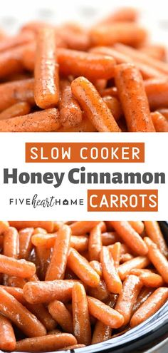 These Slow Cooker Honey Cinnamon Carrots are sweet buttery delectable and totally addictive! It is the best slow cooker glazed carrots perfect as a side dish for any day Thanksgiving or holiday parties! Save this soft carrot recipe for later! Easter Side Dishes, Thanksgiving Side Dishes, Side Dishes Easy, Vegetable Side Dishes, Side Dish Recipes, Thanksgiving Recipes, Vegetable Recipes, Vegetarian Recipes, Easter Recipes