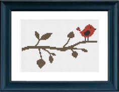 Red Bird Cross Stitch Pattern by PinkElephantWorkshop on Etsy, $3.00