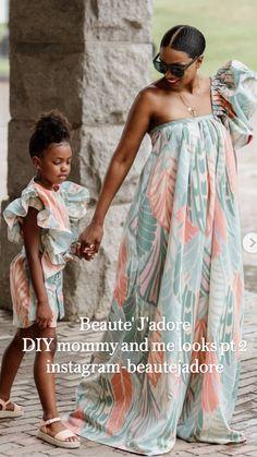 African Print Fashion, African Fashion Dresses, Simple Dresses, Beautiful Dresses, African Dresses For Kids, Diy Fashion, Fashion Outfits, Mother Daughter Fashion, African Traditional Dresses