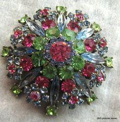 Vintage Brooch Pin WOW Pink Blue Green Flower Rhinestone Silver Tone Jewelry COS | eBay