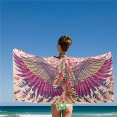 150*80CM Women Purple Eagle Phoenix Wings Printed Scarves Beach Shawls Mats