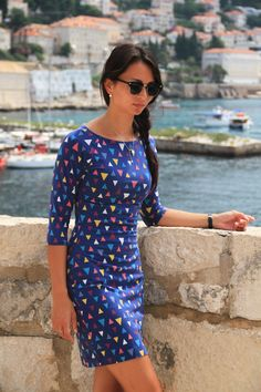 One of my most popular - women's dress Jackline Photo shooted in Dubrovnik, Croatia Dress Sewing Patterns, I Dress, Size Chart, Style Inspiration, Popular, Lady, Casual, Sleeves, Dubrovnik Croatia