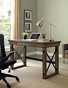 Industrial Rustic Grey Gray Wood Metal Modern Computer Writing Desk Home Office #AltraFurniture