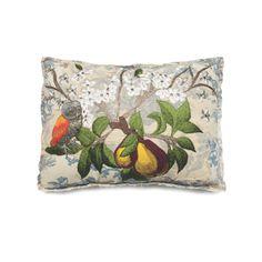 Bokja Embroidered Pears & Owl Cushion