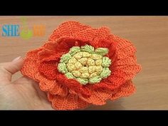 ▶ Big Crochet Flower Tutorial 62 Part 1 of 3 Crochet 3-Layered Center - YouTube