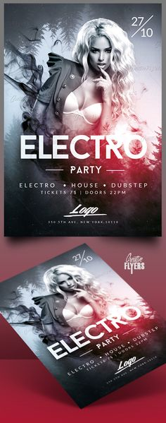 Creative Electro Party Flyer Enjoy downloading the Premium Photoshop PSD Flyer / poster Template designed by Creative Flyers perfect to promote your Electro Party ! #electro #party #flyers #templates #creative #creativeflyers