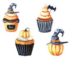 Halloween Watercolor Clipart Cupcake clipart от SpringArtShop @avdeeva_arts