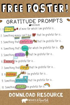 Gratitude Prompts For Teachers & Parents to Work With Their Students and Children On - WholeHearted School Counseling - Healthy Life-Food Coping Skills List, Gratitude, Social Skills For Kids, School Social Work, Counseling Activities, Challenge, Happiness, Les Sentiments, Social Emotional Learning