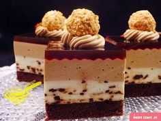 """z cukrem pudrem: ciasto """"Zmierzch"""" (cappuccino) Note how nicely the gel lays over the combed cream. Polish Desserts, Polish Recipes, Cappuccino Coffee, Cappuccino Machine, Mousse Cake, Pastry Cake, Food Cakes, No Bake Cake, Delicious Desserts"""