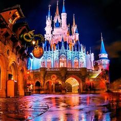 Disney's Magic Kingdom: Cinderella's Castle at night