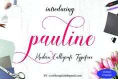 Pauline is a stunning, handwritten calligraphy-style font that features over 480 unique glyphs. This stunning font is decorated with many decorative characters with long swashes. Cute Fonts, Pretty Fonts, Beautiful Fonts, Script Type, Script Fonts, All Fonts, Business Brochure, Business Card Logo, Creative Fonts