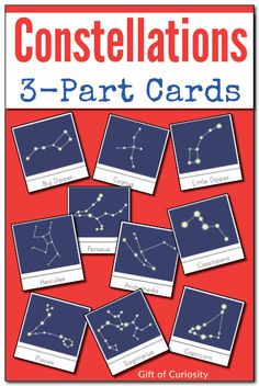 Montessori Constellations 3-part cards featuring 24 different constellations. Includes a version with white stars on a dark background and version with grey stars on a white background. || Gift of Curiosity