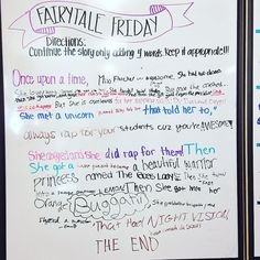 I didn't let myself read anything until the end of the day, and these kiddos did not disappoint with Fairytale Friday! Thank you, for the whiteboard idea! Morning Activities, Writing Activities, Classroom Activities, Classroom Ideas, Daily Writing Prompts, Writing Skills, Morning Board, Leadership, Bell Work