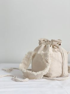 Natural Cotton Canvas Drawstring Bag Frayed Fringe Handbag | Etsy Cotton Canvas, Cotton Fabric, Fringe Handbags, Minimalist Bag, Cotton String, Etsy Shipping, Gifts For Her, Handmade Items, Studio