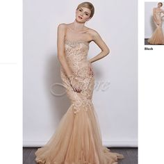 Jadore blush pearl evening ball gown wedding prom Worn once for a wedding. Real pictures and measurements to come soon. Filled with pearls and rhinestone. Comes with detachable straps. Will need to be dry cleaned. Jadore Dresses Strapless