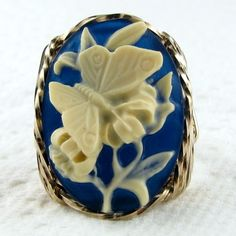 Butterfly Cameo Ring 14K Rolled Gold Custom Jewelry