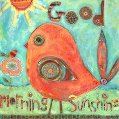 """Good Morning Sunshine"" kids wall decor by Carter Carpin for Oopsy daisy, Happy Sunshine, Good Morning Sunshine, Kids Wall Decor, Mug Rugs, Elementary Art, Art Sketchbook, Bird Art, Art Lessons, Canvas Wall Art"