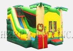 Our best selling 4-in-1 Combo is a must have addition to any rental fleet.  Each model includes:  A large jumping area, inflatable basketball hoop, tall slide, and a challenging climbing area.