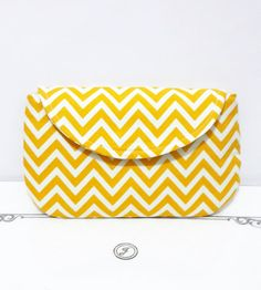 Yellow Chevron Pouch Handmade Purse Cosmetic Case Makeup Bag Bridesmaids Clutch Weddings Dinner Pouch Iphone Case