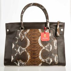 Refined woman shopper made of genuine python skin in the gorgeous Cognac tonality