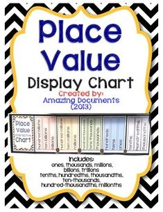 Mathematics - Place Value Display Chart (FREE!)  Check out these amazing products!  Interactive Reading Comprehension Notebook – Bundle 1       Interactive Reading Comprehension Notebook – Bundle 2       This packet includes the following items: An array of colorful Display Pieces for your Anchor Chart or Classroom Wall.