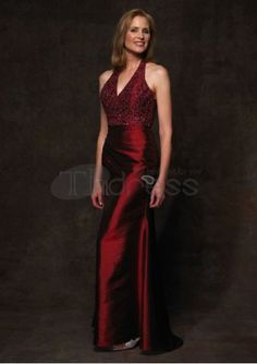 taffeta sexy v neck with a line skirt wine red mother of bride dress