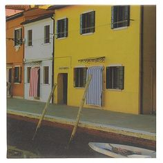 Schilderij canvas Venetie geel huis 25x25 cm | goedkoop kopen € 2,50 | Schilderijen | Wonen | Online Winkel | Discount Postorder Warenhuis Budgetland