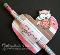 "Pencil Topper Valentine by Crafty Math-Chick for Newton's Nook Designs! Uses the ""Sweetheart Tails"" Stamp set!"