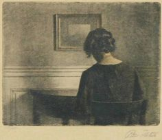 Peter Ilsted - Girl a semicircular table. 1909