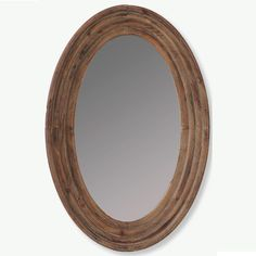 Brown Wood Framed Oval Mirror