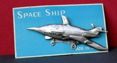 """Vintage 1950's or Early 1960's TIN brooch PIN """"Sky Rocket"""" Space Ship JAPAN MOC"""
