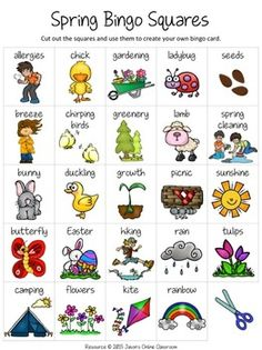 "Spring Free Create Your Own Luck Bingo - This resource includes 24 spring related images and vocabulary words and a blank ""MY BINGO CARD"" template that students can use to create their own unique spring themed bingo cards.  DOWNLOAD. PRINT. DONE!About Jason's Online ClassroomSign up for our EMAIL NEWSLETTER to receive important news, product announcements, and special deals and promotions."