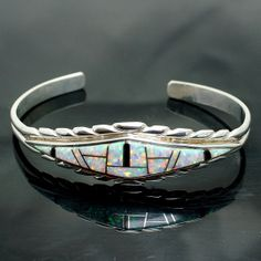 """Vintage Lab Created Opal & Onyx Sterling Silver Cuff Bracelet - 6"""" - Future Native American Style"""